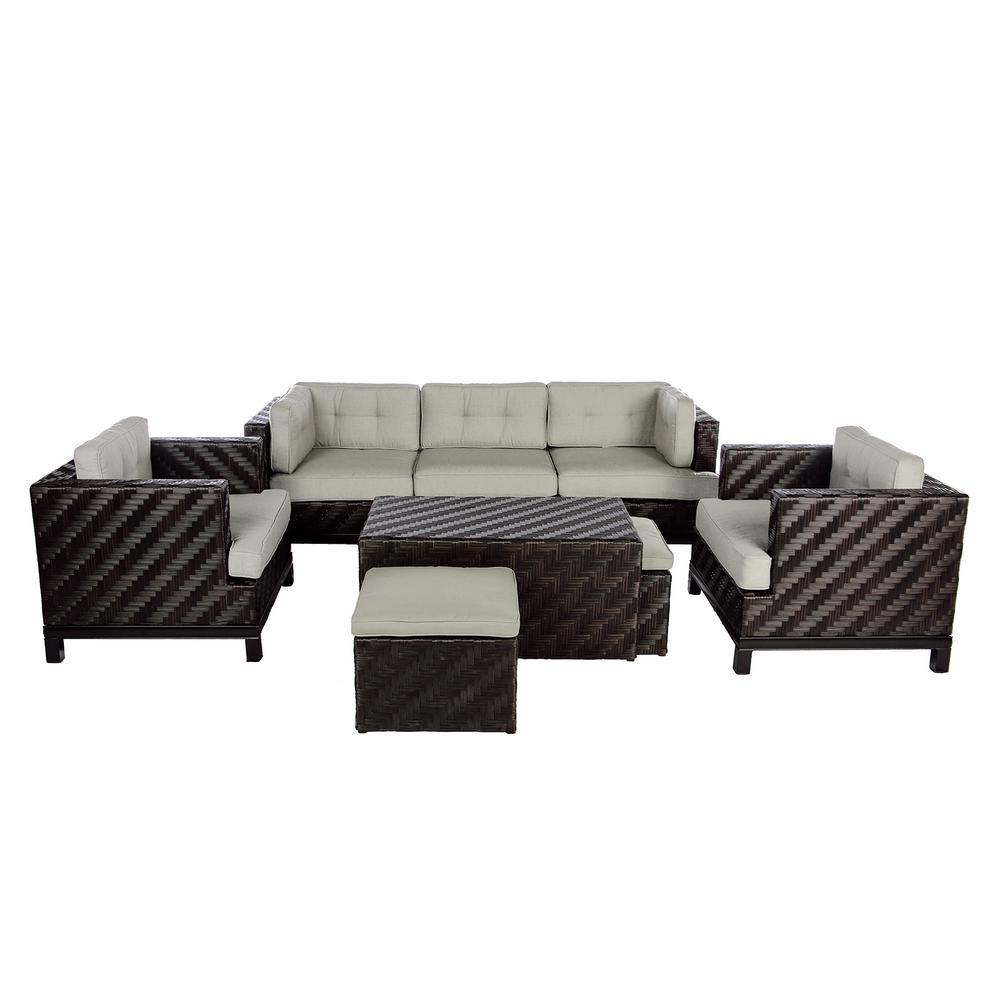 AE Outdoor Rachel 8-Piece Wicker Patio Deep Seating Set w...
