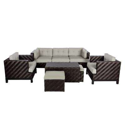 Rachel 8-Piece Wicker Patio Deep Seating Set with Cast-Ash Cushions