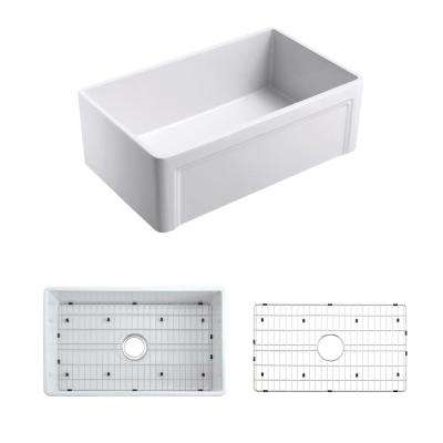 Olde London Reversible Casement Apron Front Farmhouse Fireclay 33 in. Single Bowl Kitchen Sink with Grid