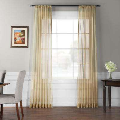 Solid Soft Tan Voile Polyester Panel - 50 in. W x 108 in. L (2-Panel)