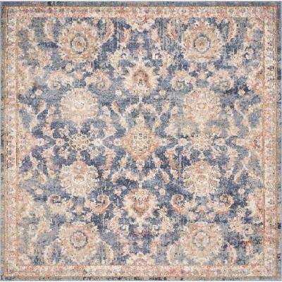 Manor Denim Chester 7 ft. x 7 ft. Traditional Medallion Square Area Rug