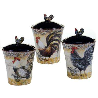 The Vintage Rooster Collection 3-Piece Ceramic Canister Set ( 44 oz., 46 oz., 80 oz. sizes)