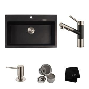 All In One Dual Mount Granite Composite 31 In. Single Bowl Kitchen Sink