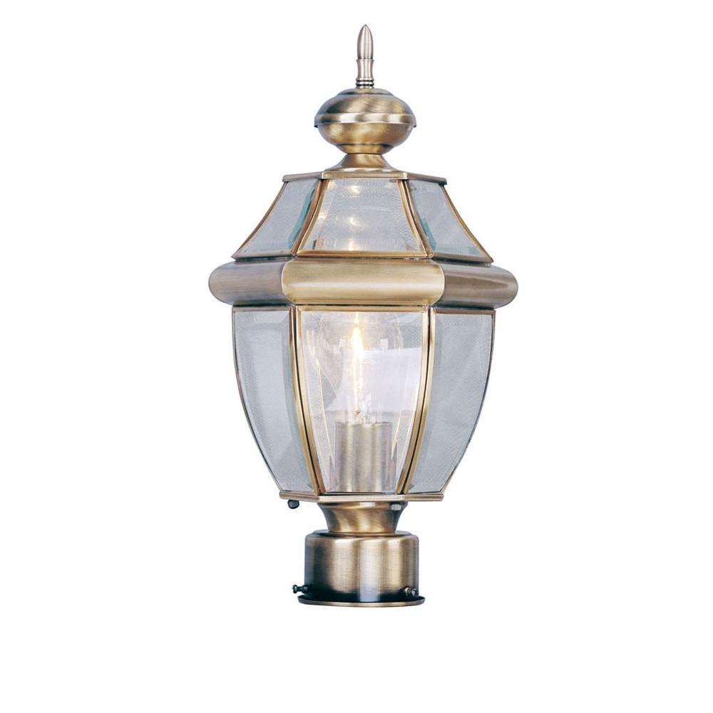 Providence 1-Light Outdoor Antique Brass Incandescent Post Lantern