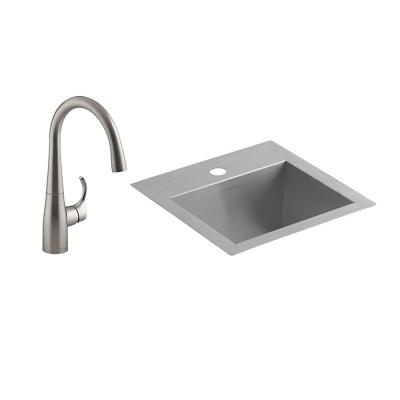 Lyric 18 Gauge Stainless Steel 15 in. 1-Hole Dual Mount Bar Sink with Simplice Faucet