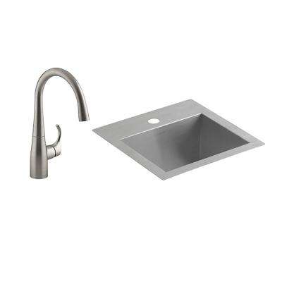 Lyric All-in-One Drop-in/Undermount Stainless Steel 15 in. Single Bowl Kitchen Bar Sink with Simplice Bar Faucet