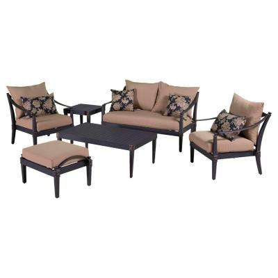 Astoria 6-Piece Love and Club Patio Deep Seating Set with Delano Beige Cushions