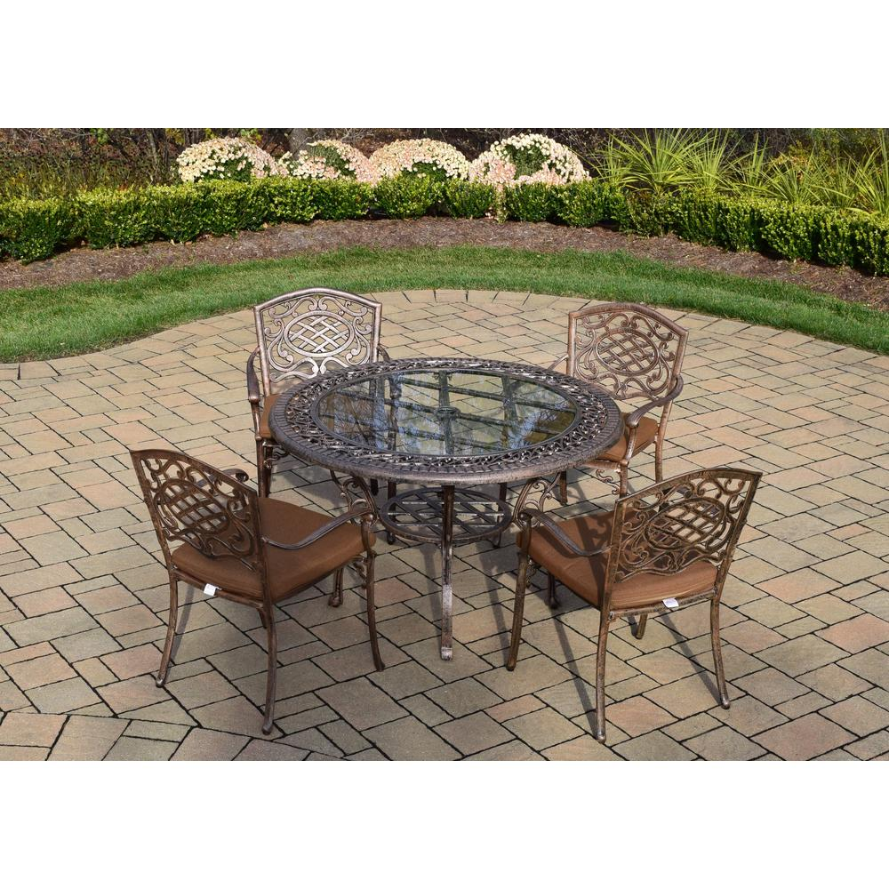 5-Piece Aluminum Outdoor Dining Set with Sunbrella Brown Cushions