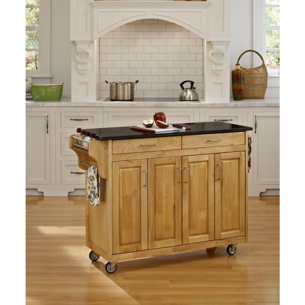 Create a cart natural kitchen cart with black granite top