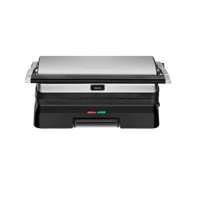 Brushed Stainless Steel Panini Press with Removable Plates