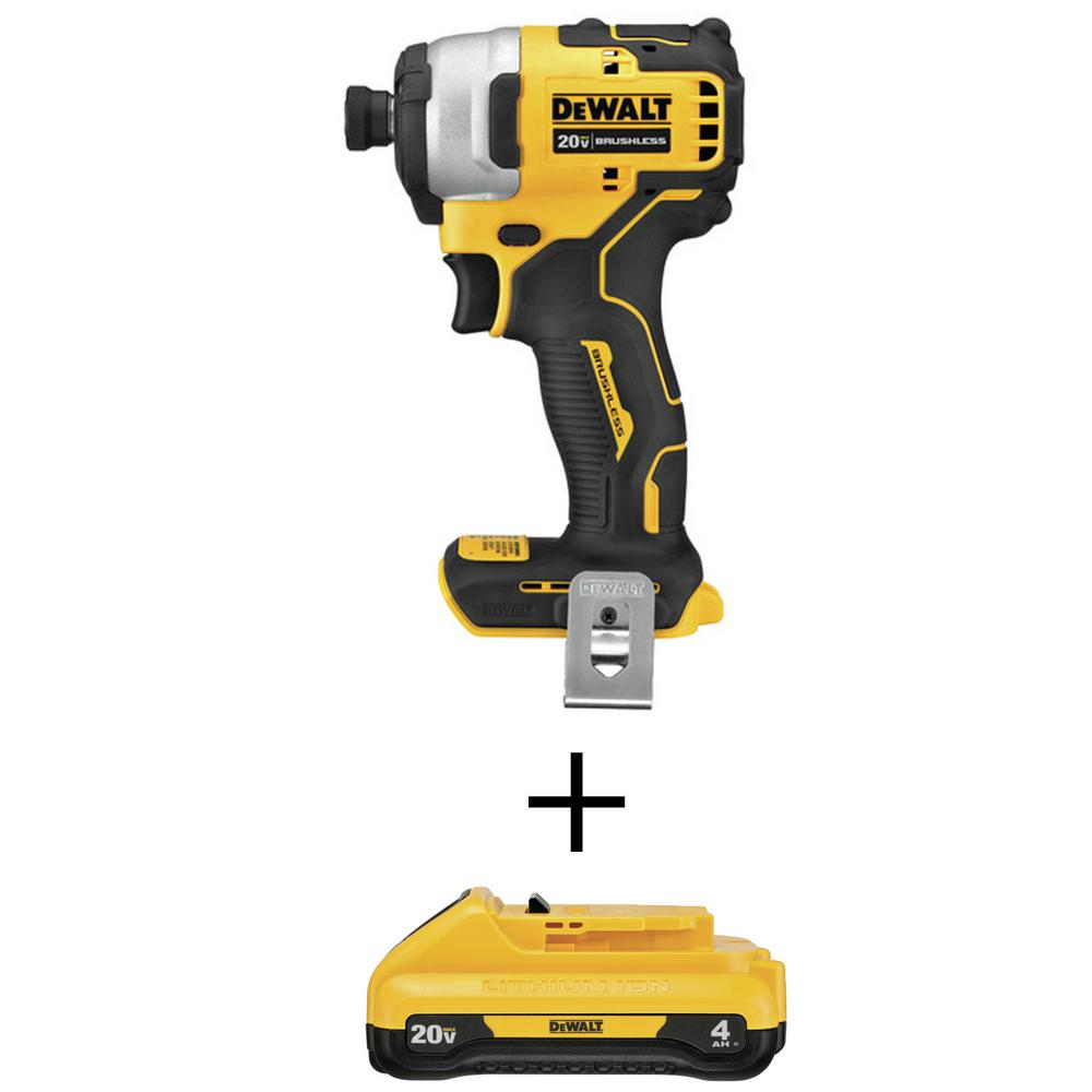 DEWALT ATOMIC 20-Volt MAX Brushless Cordless Compact Impact Driver (Tool-Only) with Bonus 20-Volt MAX Li-Ion 4.0 Ah Battery was $239.0 now $139.0 (42.0% off)