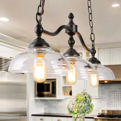 Barn 38 in. 3-Light Black Modern Farmhouse Chandelier Rustic Kitchen Island Pendant Light with Clear Glass Shades
