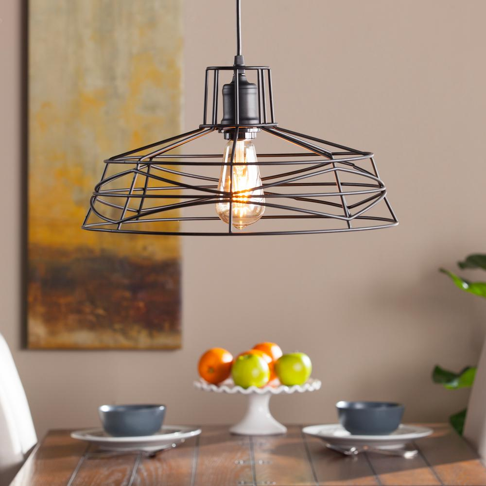 Attaway 1-Light Matte Black Wire Cage Pendant Lamp-HD88203 - The ...
