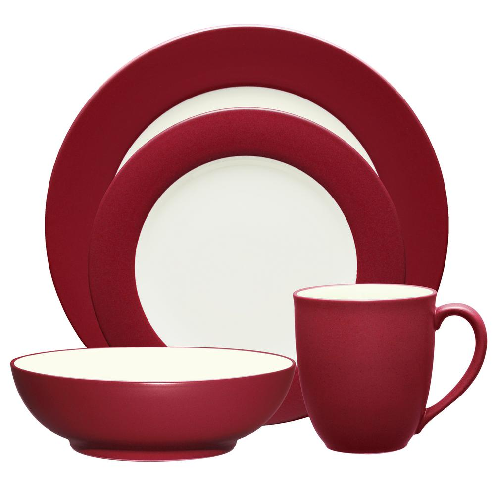 Colorwave Rim 4-Piece Casual Raspberry Stoneware Dinnerware Set (Service for 1)