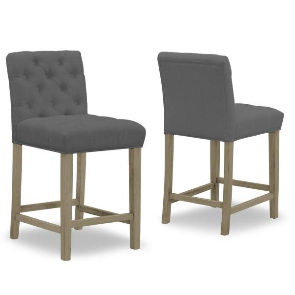 Alee Grey Fabric with Tufted Buttons and Wood Legs Counter Stool (Set of 2)