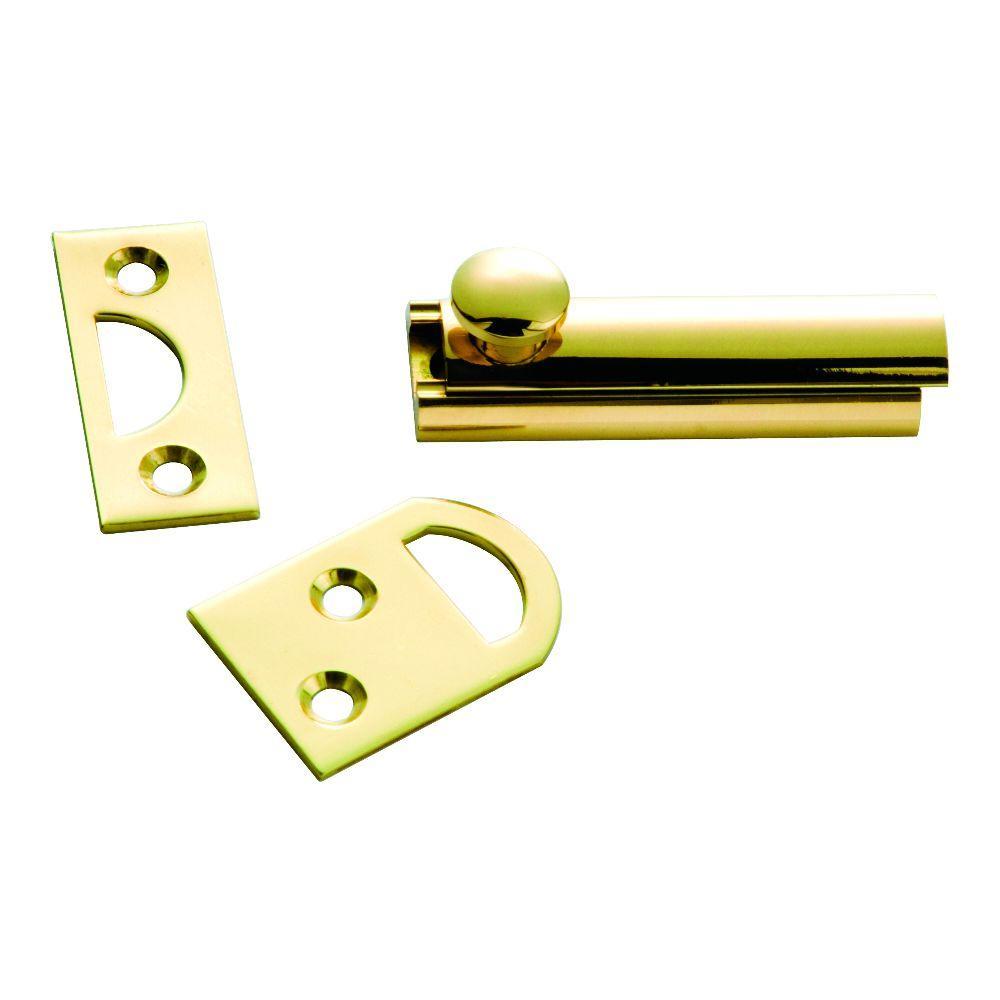 2 in. Polished Solid Brass Slide Door Bolt