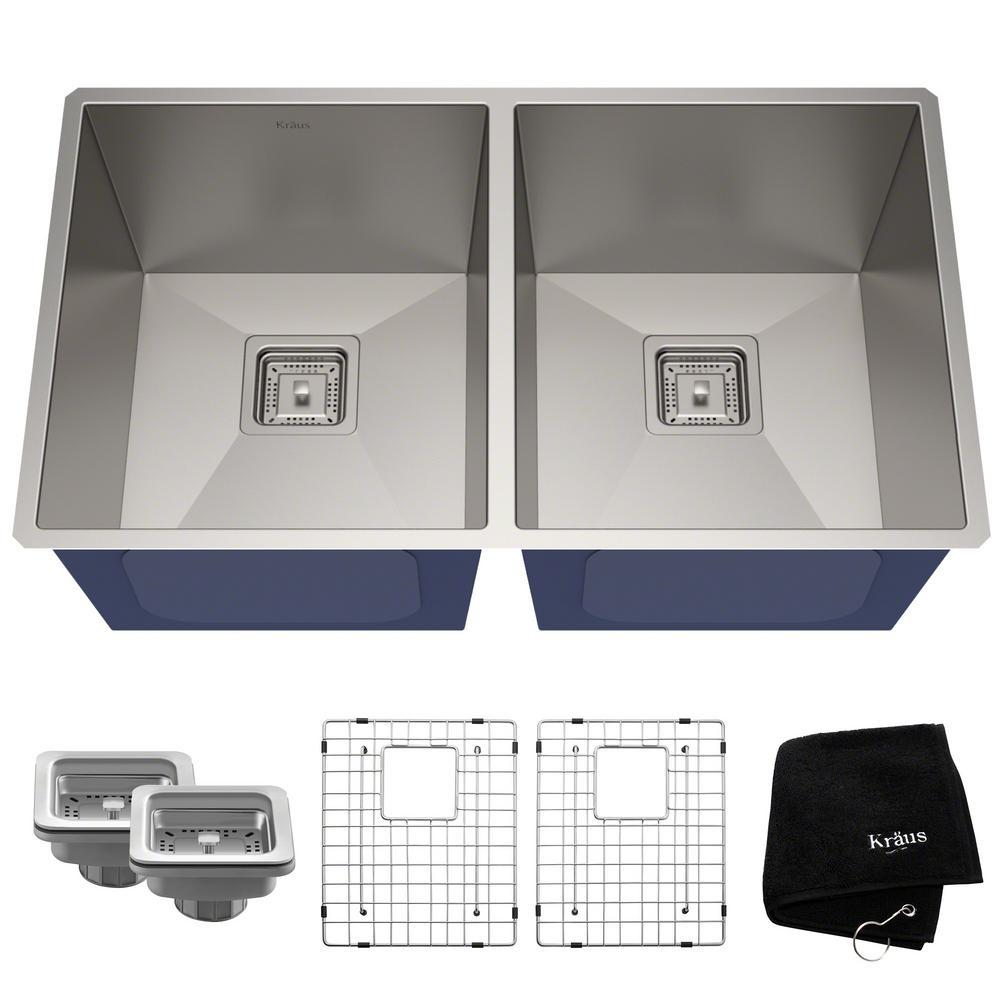 Pax Zero-Radius 31.5in. 16 Gauge Undermount 50/50 Double Bowl Stainless Steel Kitchen Sink