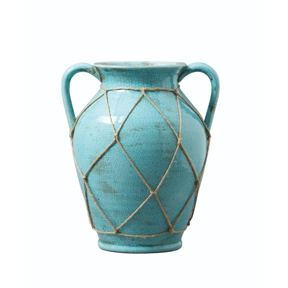 Home Decorators Collection 12 in. Large Turquoise Ravenna Vase in Blue