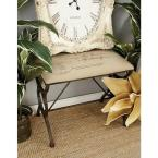 Litton Lane Black Footed Bench with Postal Printed Beige Cushioned Seat