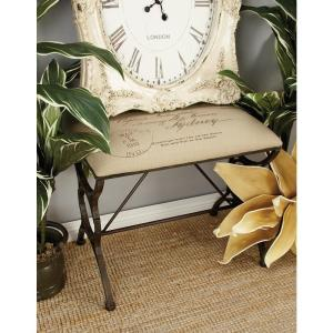 Strange Black Footed Bench With Postal Printed Beige Cushioned Seat Ibusinesslaw Wood Chair Design Ideas Ibusinesslaworg