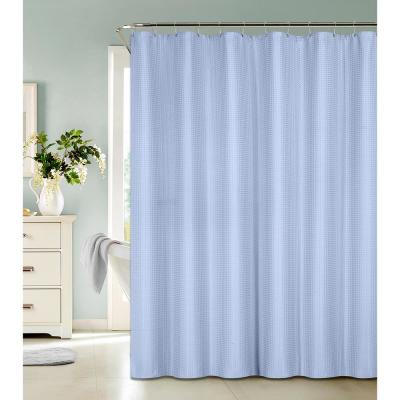 Waffle Weave 72 in. Blue Shower Curtain with Metal Grommets