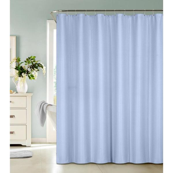 Bath Bliss Waffle Weave 72 in. Blue Shower Curtain with Metal