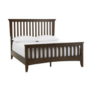 Abrams Walnut Finish Queen Mission Style Bed (69 in W. X 54 in H.)