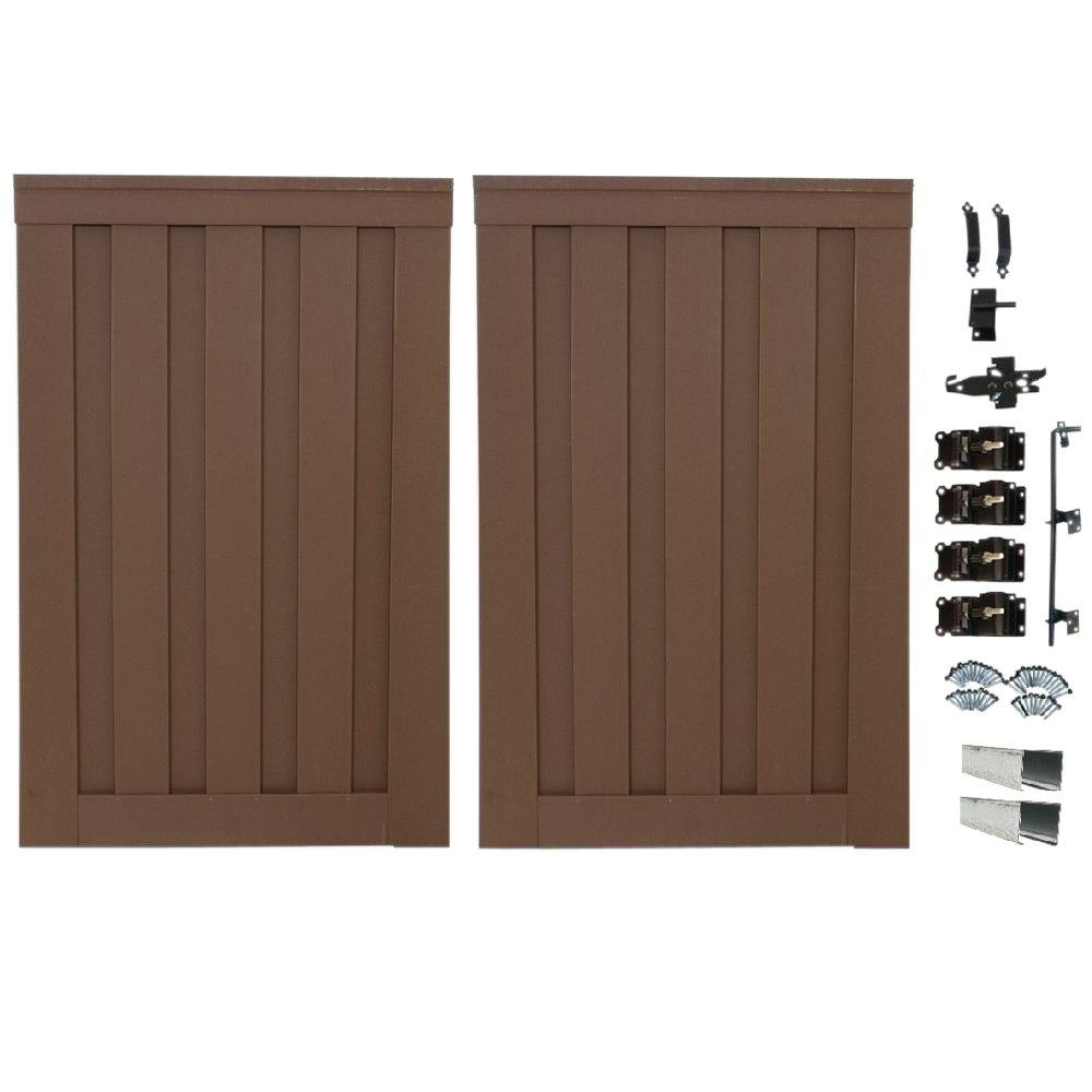 Trex Seclusions 4 ft. x 6 ft. Saddle Brown Wood-Plastic Composite Privacy Fence Double Gate with Hardware