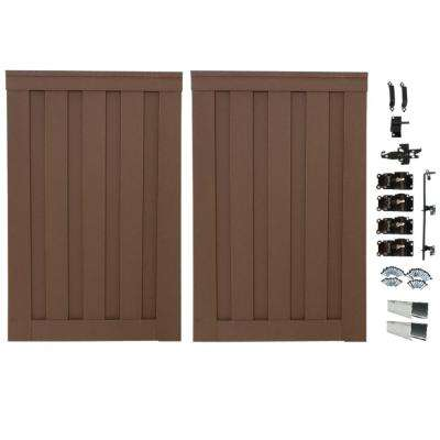 Seclusions 4 ft. x 6 ft. Saddle Brown Wood-Plastic Composite Privacy Fence Double Gate with Hardware