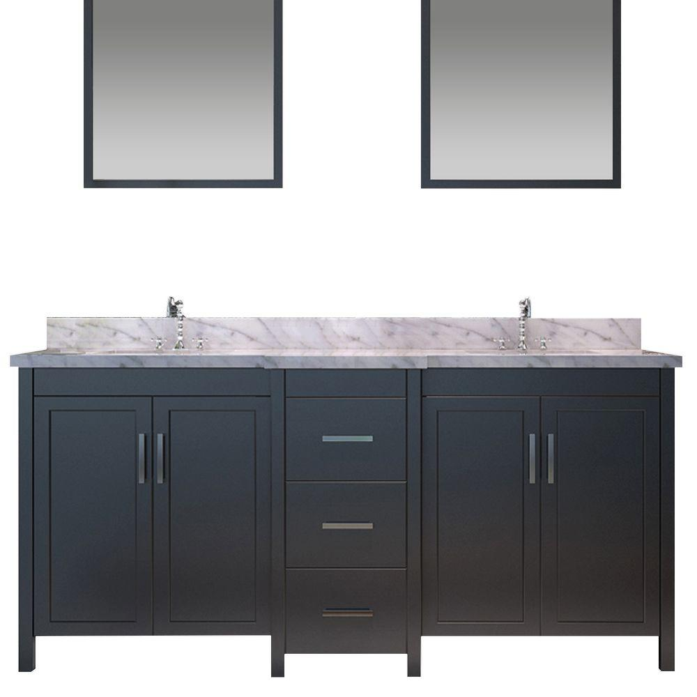 Bath Vanity In Black With Marble Vanity Top In Carrara White