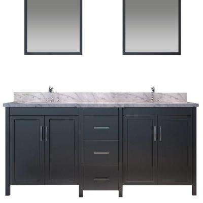 Hollandale 73 in. Vanity in Black with Marble Vanity Top in Carrara White, Under-Mount Basins and Mirrors