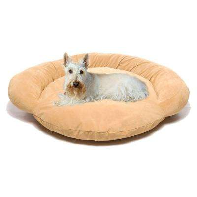 Small Velvet Microfiber Bolster Pet Bed - Carmel
