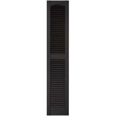 12 in. x 60 in. Louvered Vinyl Exterior Shutters Pair in #002 Black