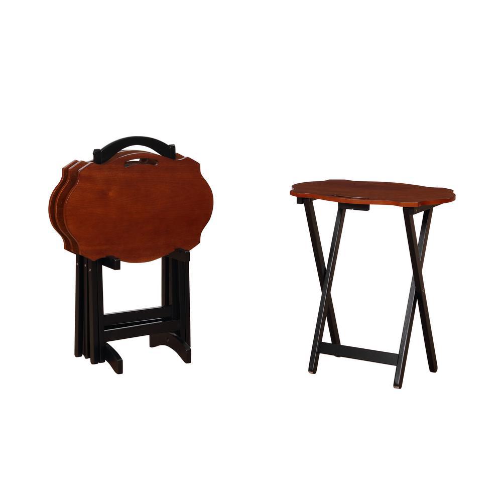 Serpentine Black/Chestnut Tray Table