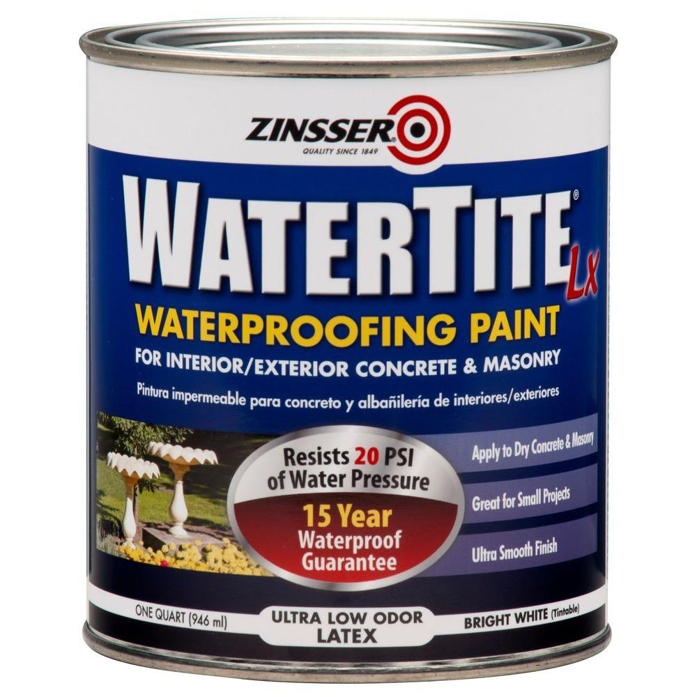 Zinsser 1-qt. WaterTite LX Low VOC Mold and Mildew-Proof White Water Based Waterproofing Paint (Case of 6)