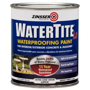 Zinsser 1 qt watertite lx low voc mold and mildew proof white water based waterproofing paint - Waterproofing paint for exterior walls collection ...