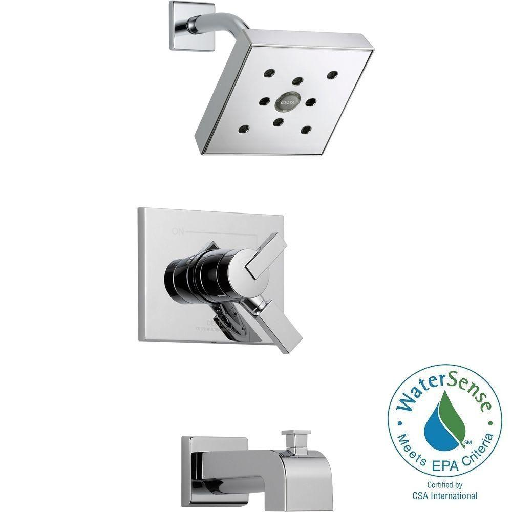 Delta Vero 1-Handle H2Okinetic Tub and Shower Faucet Trim Kit in Chrome (Valve Not Included)
