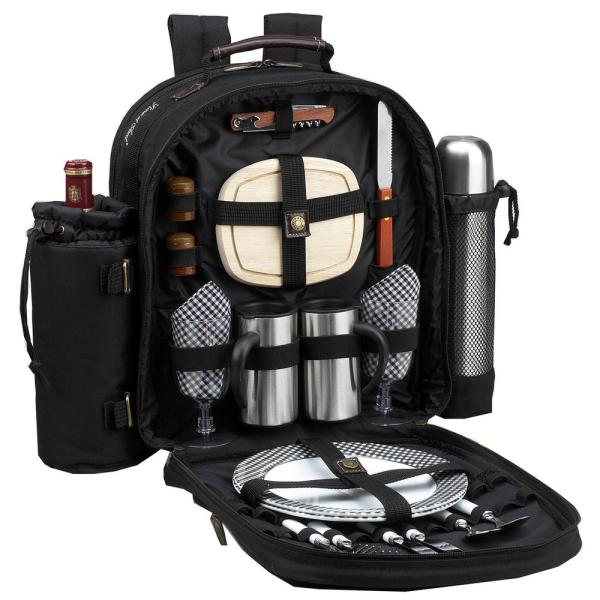 Deluxe Equipped 2-Person Picnic and Coffee Backpack in Bold Navy 082-BLK