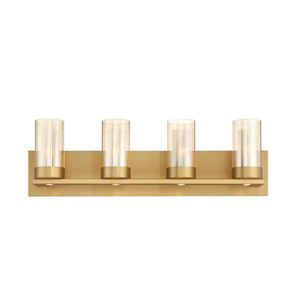 Home Decorators Collection Samantha 26.6 in. 4-Light  Brass LED Bathroom Vanity Light