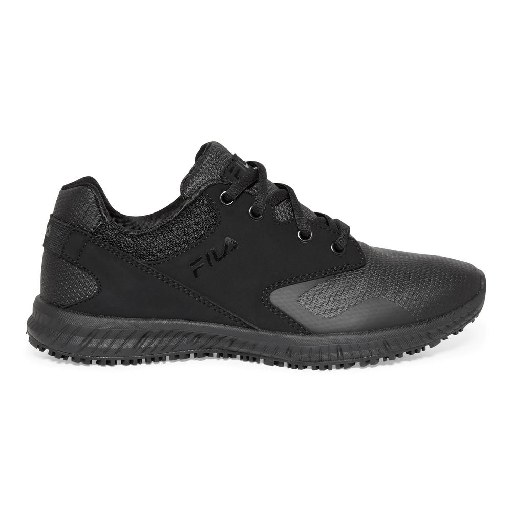 Fila Women's Memory Layers Slip Resistant Athletic Shoes Soft Toe BLACK Size 7.5(M)