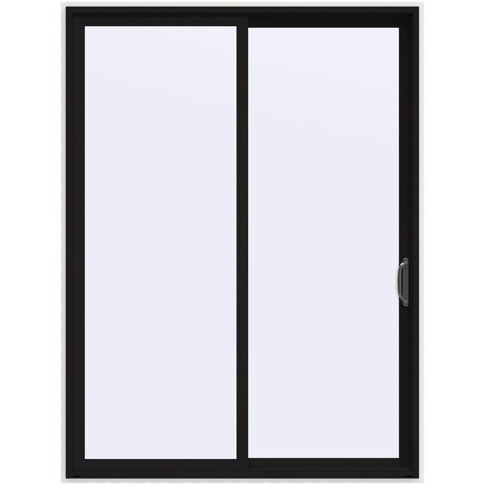 72 in. x 96 in. V-4500 Contemporary Black Painted Vinyl Right-Hand Full Lite Sliding Patio Door w/White Interior