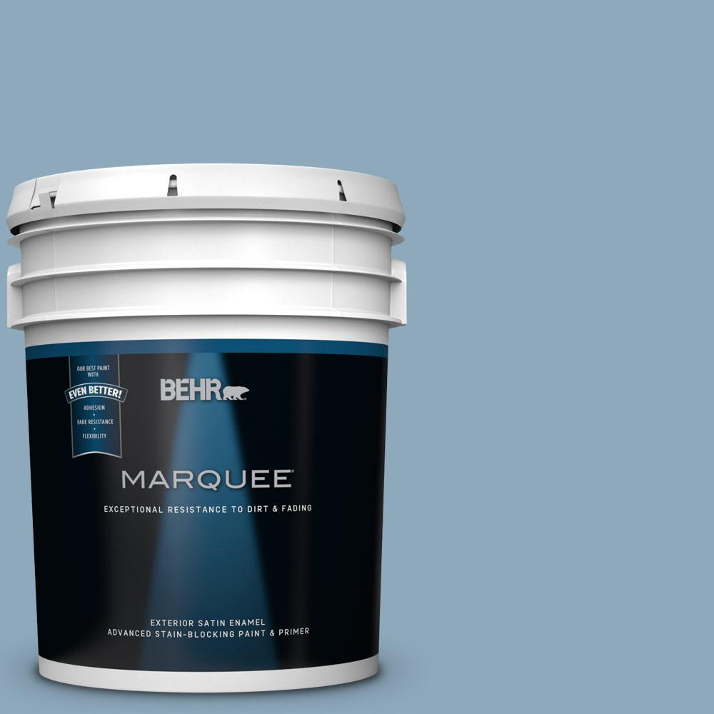 Behr Marquee 5 Gal Ppu14 9 Windsurf Satin Enamel Exterior Paint 945405 The Home Depot