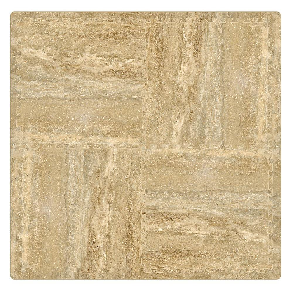 Travertine 24 in. x 24 in. Residential Interlocking Foam Mat (4-Pack)