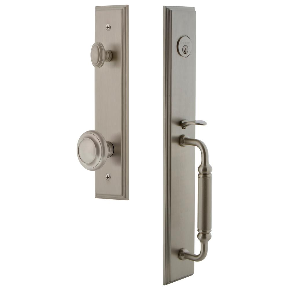 Grandeur Carre' 1-Piece 2-3/4 in. Backset Satin Nickel Door Handleset with C Grip and Circulaire Knob