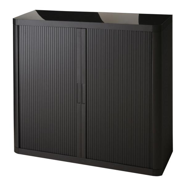 Paperflow easyOffice Black 41 in. Tall Storage Cabinet with 2-Shelves EE000006