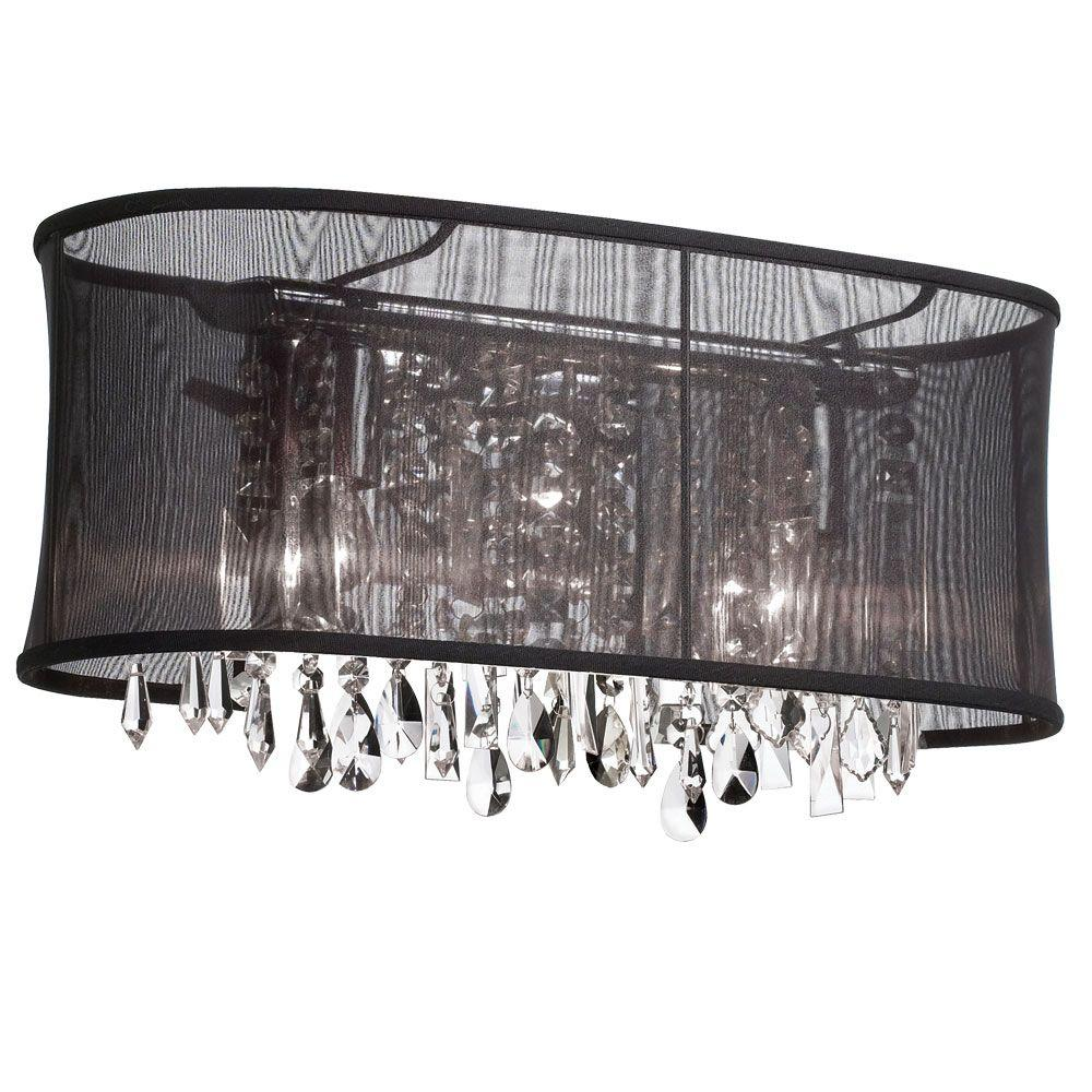 Radionic Hi Tech Bohemian 3 Light Polished Chrome Clear Crystal Vanity Light  With Oval Black
