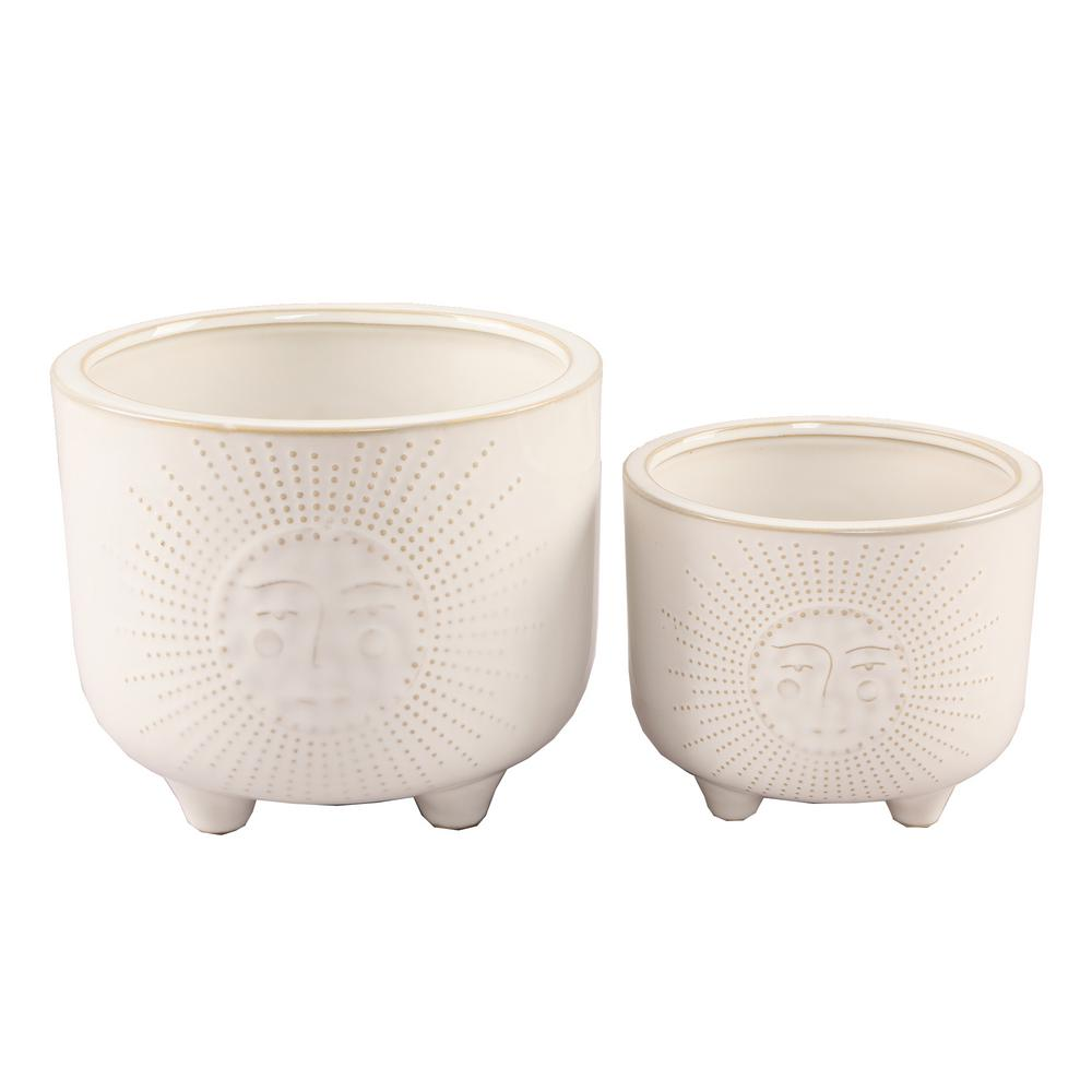Flora Bunda 6 in. and 4.75 in. Ivory White Sunny Ceramic Plant Pot with Legs (Set of 2)