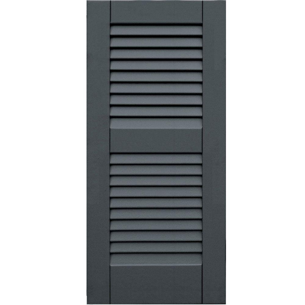 Winworks Wood Composite 15 in. x 33 in. Louvered Shutters Pair #663 Roycraft Pewter