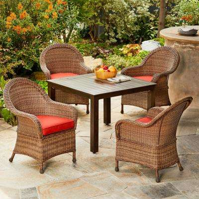 Hacienda 5-Piece Wicker Outdoor Dining Set with Red Cushions