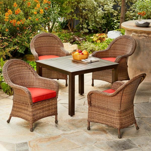 Hacienda 5-Piece Wicker and Aluminum Outdoor Dining Set with Red Cushions
